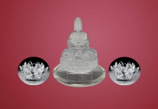 水晶蓮花和水晶佛像